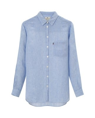 Isa Linen Shirt, Light Blue/White