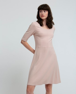 Scarlett U-neck Dress, Seashell Pink