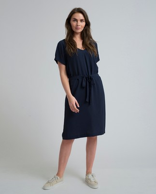 Kristina Solid Dress, Navy Blue