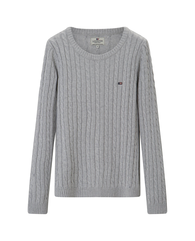 Felizia Cable Sweater, Light Gray