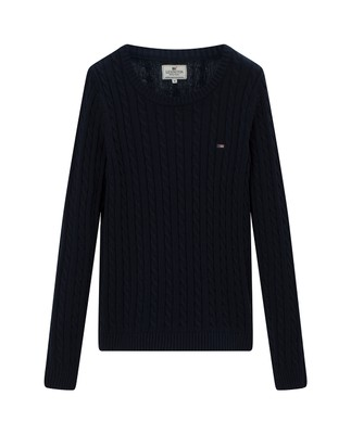 Felizia Cable Sweater, Navy Blue