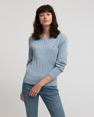 Felizia Cable Sweater, Kentucky Blue