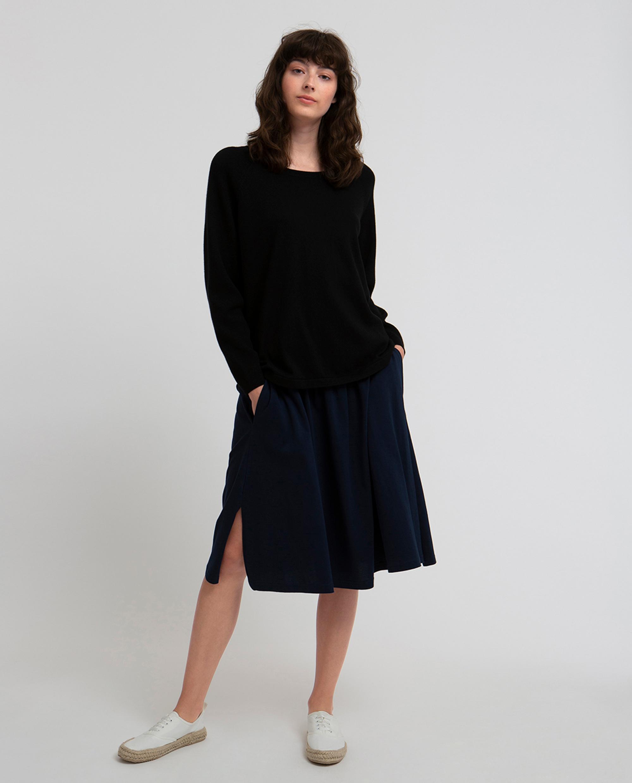Lea Cotton/Cashmere Sweater, Caviar Black