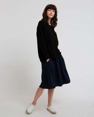Lea Cotton/Cashmere Sweater, Caviar Black