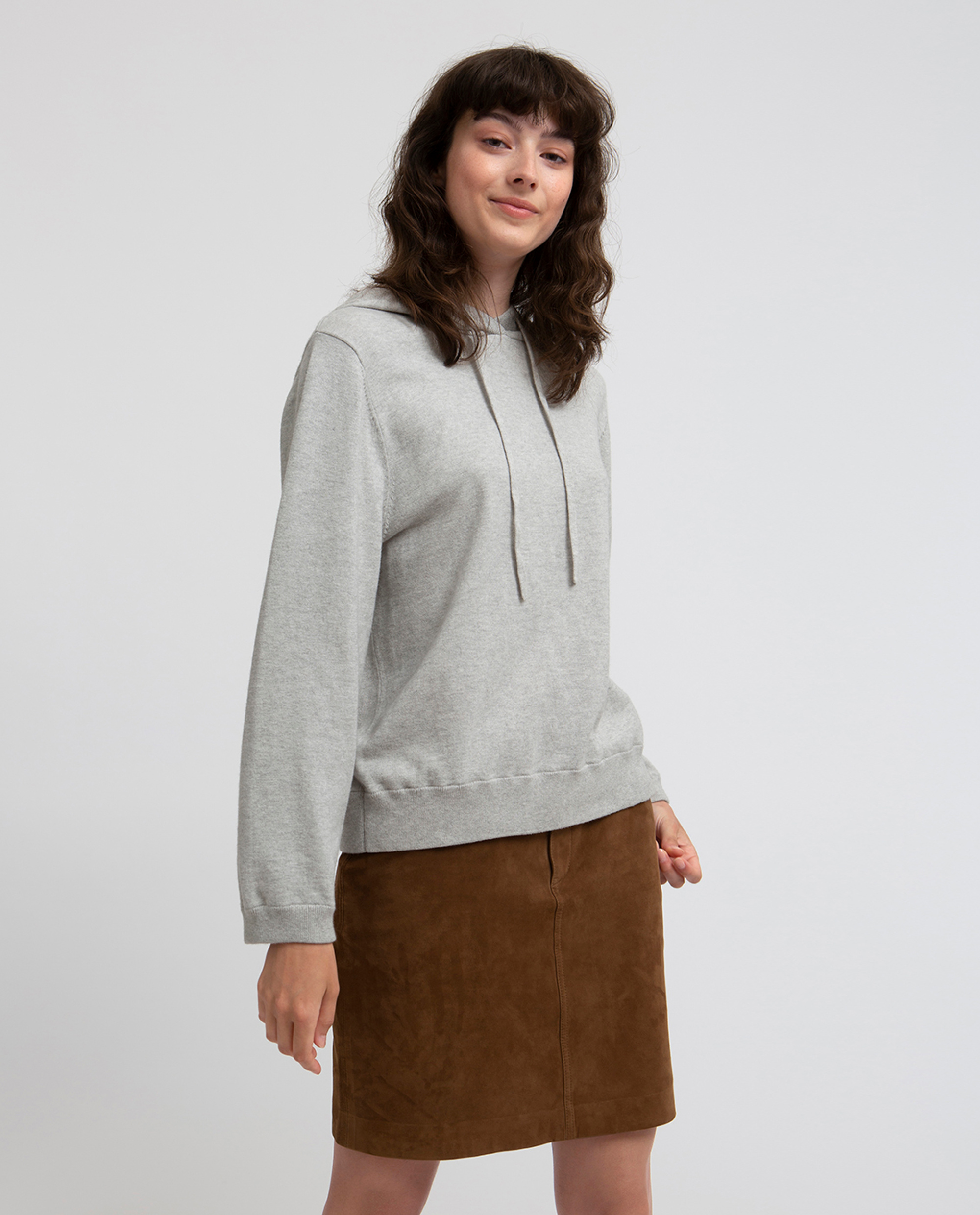 June Knitted Hoodie, Light Warm Gray