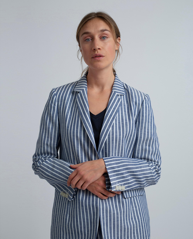Frida Linen Blazer, Blue/White