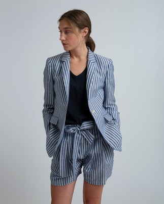 Frida Linen Blazer, Blue/White