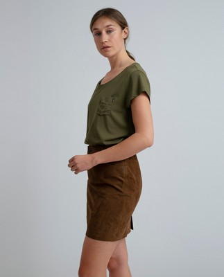 Meryl Suede Skirt, Hazelnut Brown