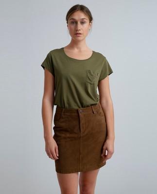 Meryl Suede Skirt, Hazelnut Brown