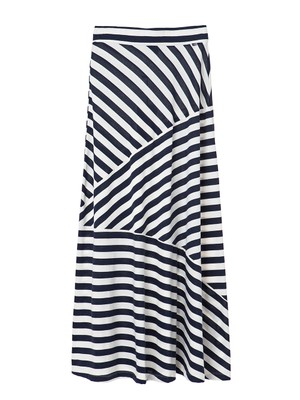 Joelle Jersey Skirt, Blue/White Stripe