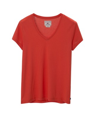 Becka V-neck Tee, Paprika Red