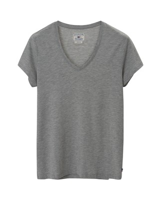 Becka V-neck Tee, Light Gray