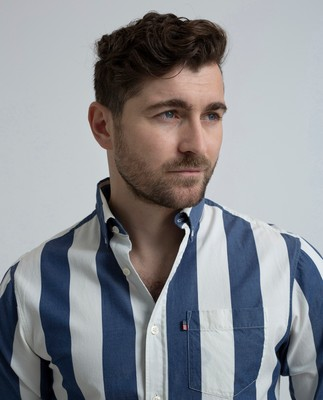 Clive Twill Shirt, Blue/White Stripe
