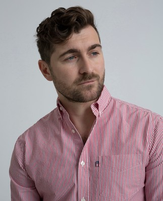 Taylor Poplin Shirt, Red/White Stripe