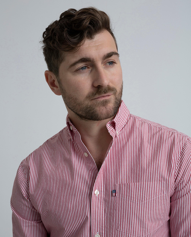 Taylor Poplin Shirt, Red/White Stripe