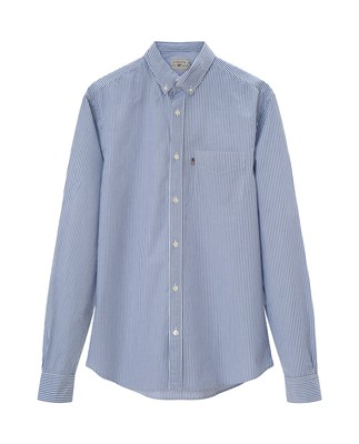 Taylor Poplin Shirt, Blue/White Stripe