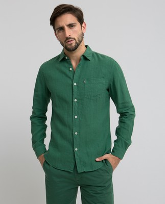 Ryan Linen Shirt, Foliage Green