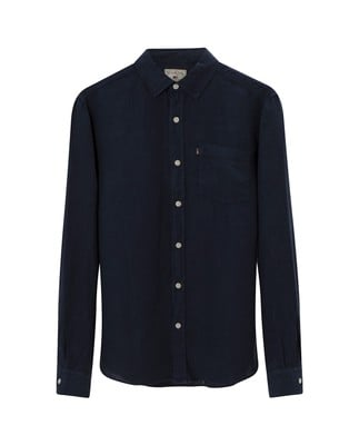 Ryan Linen Shirt, Deepest Blue