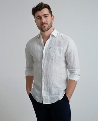 Ryan Linen Shirt, Bright White