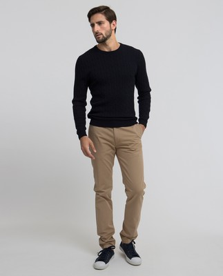 Dominic Cable Merino Sweater, Deep Marine Blue