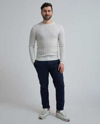 Dominic Cable Merino Sweater, Shell White