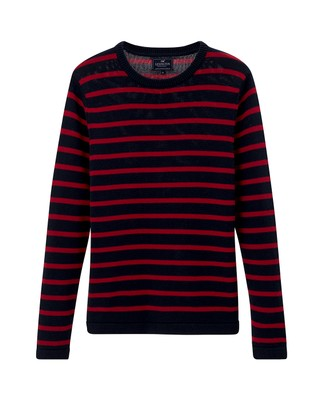 Lincoln Striped Sweater, Red/Blue Stripe