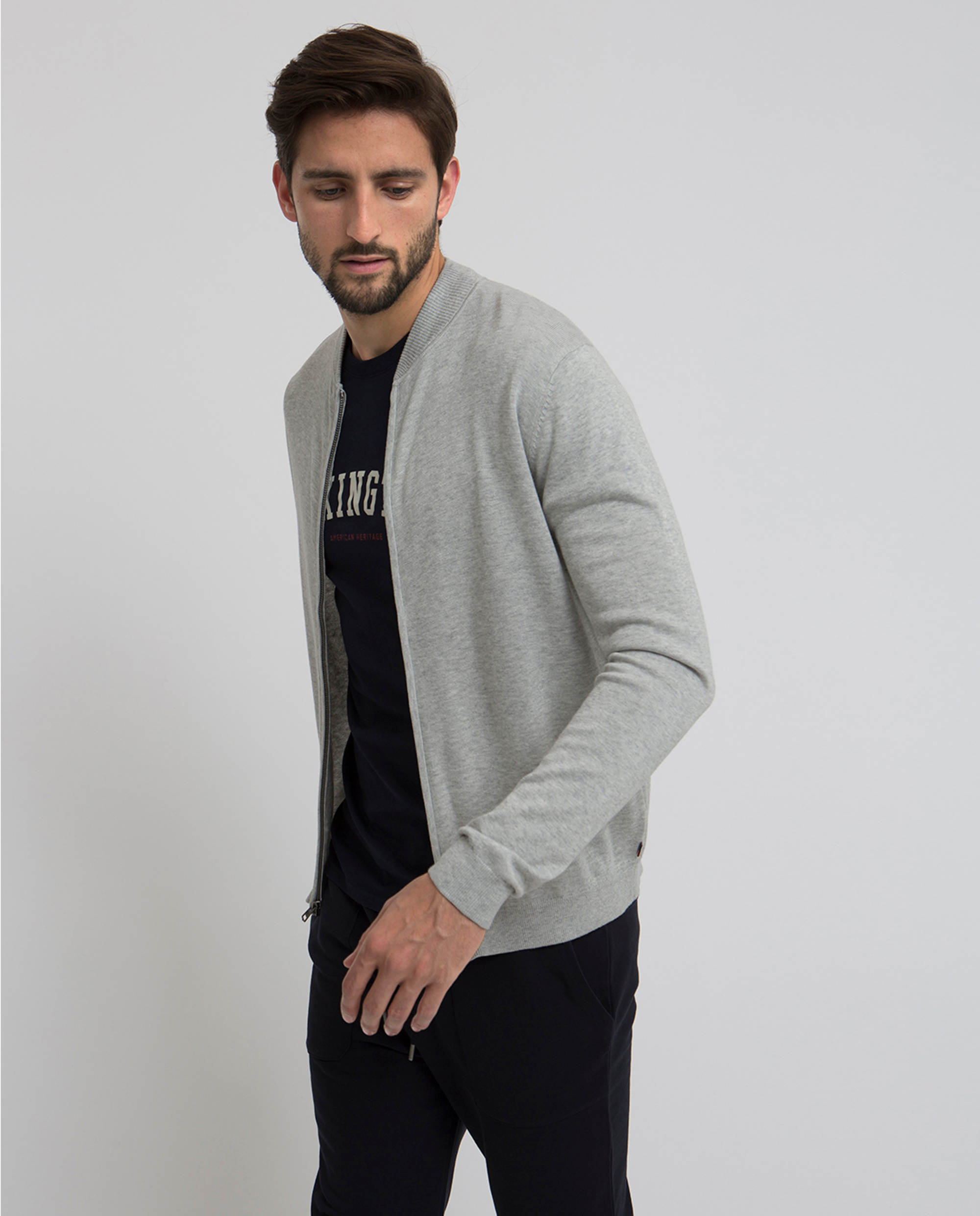 Terrance Bomber Cardigan, Light Gray