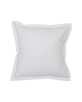 Hotel Percale White/Lt Beige Pillowcase