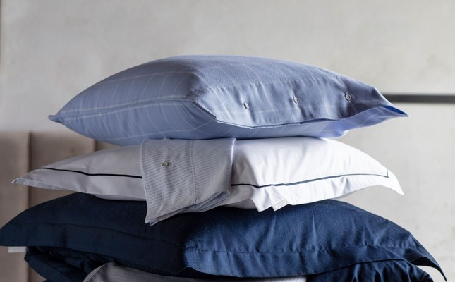 Hotel Percale White/Blue Pillowcase