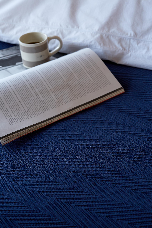 Hotel Herringbone Bedspread, Dk. Blue