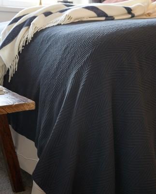 Hotel Herringbone Bedspread, Dk. Gray