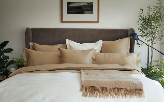 Hotel Wool Throw, Beige/White