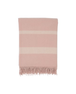 Hotel Wool Throw, Pink/White