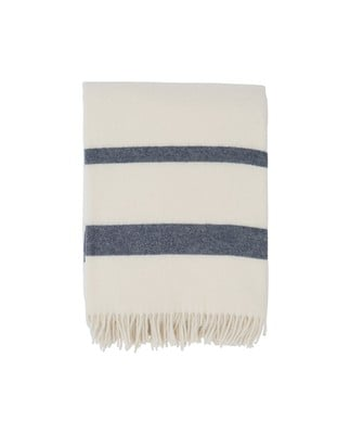 Hotel Wool Throw, White/Blue