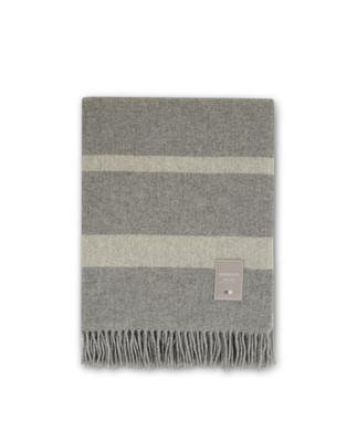 Hotel Wool Throw, Gray/White