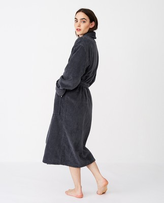 Unisex Hotel Velour Robe, Gray