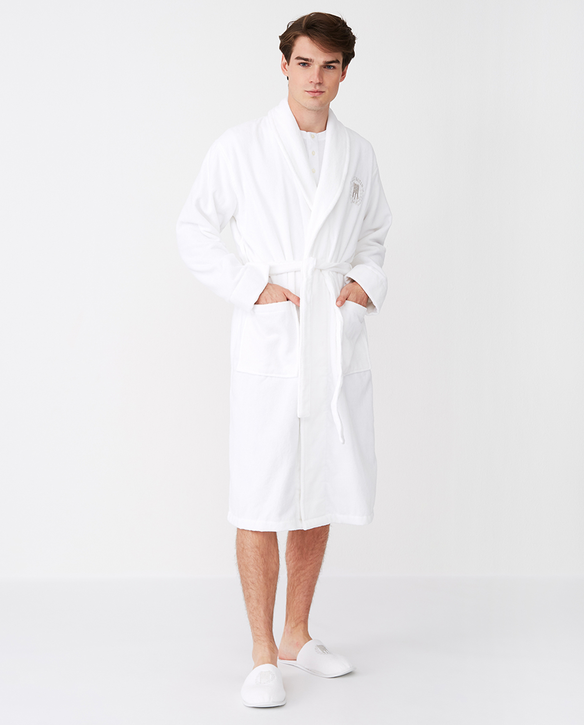 Unisex Hotel Velour Robe, White