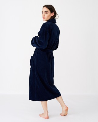 Unisex Hotel Velour Robe, Dress Blue