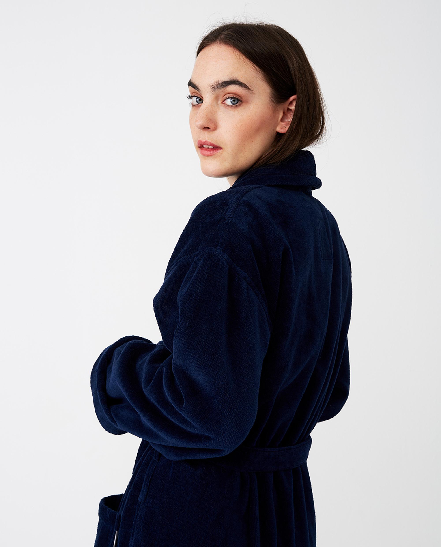 Unisex Hotel Velour Robe, Dress Blue