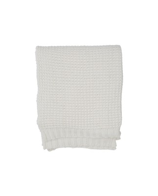 Knitted Cotton Throw, Beige