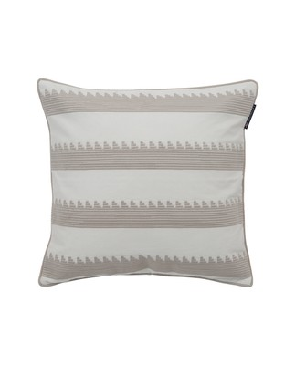 Embroidery Striped Sham, Beige/White