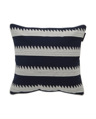 Embroidery Striped Sham, Blue/White