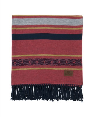 Multi Striped Cotton Throw, Red