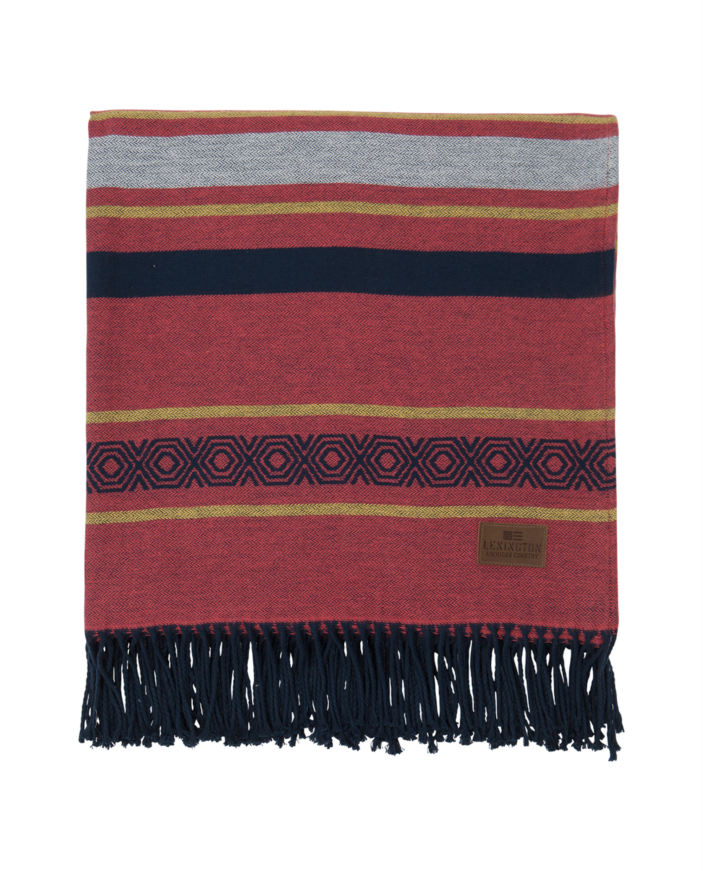Multi Striped Cotton Throw, Red