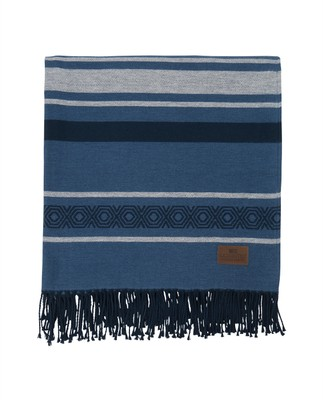 Multi Striped Cotton Throw, Blue