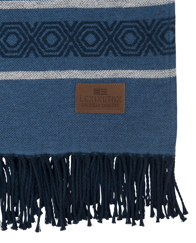Multi Striped Cotton Throw, Blue