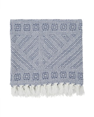 Jacquard Throw, Blue/White