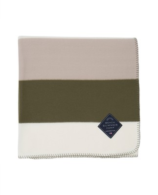 Block Striped Fleece Throw, Green/White