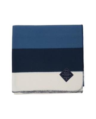 Block Striped Fleece Throw, Blue/White