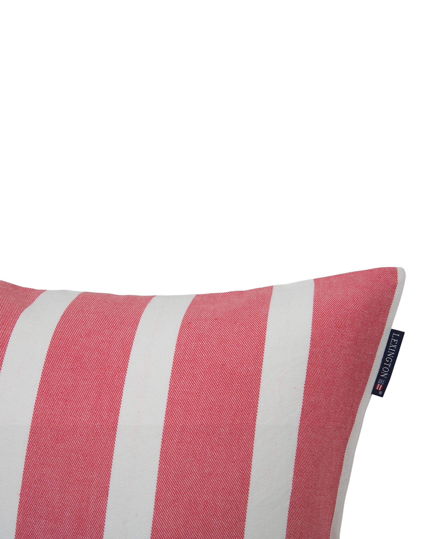 Wide Stripe Sham, White/Red